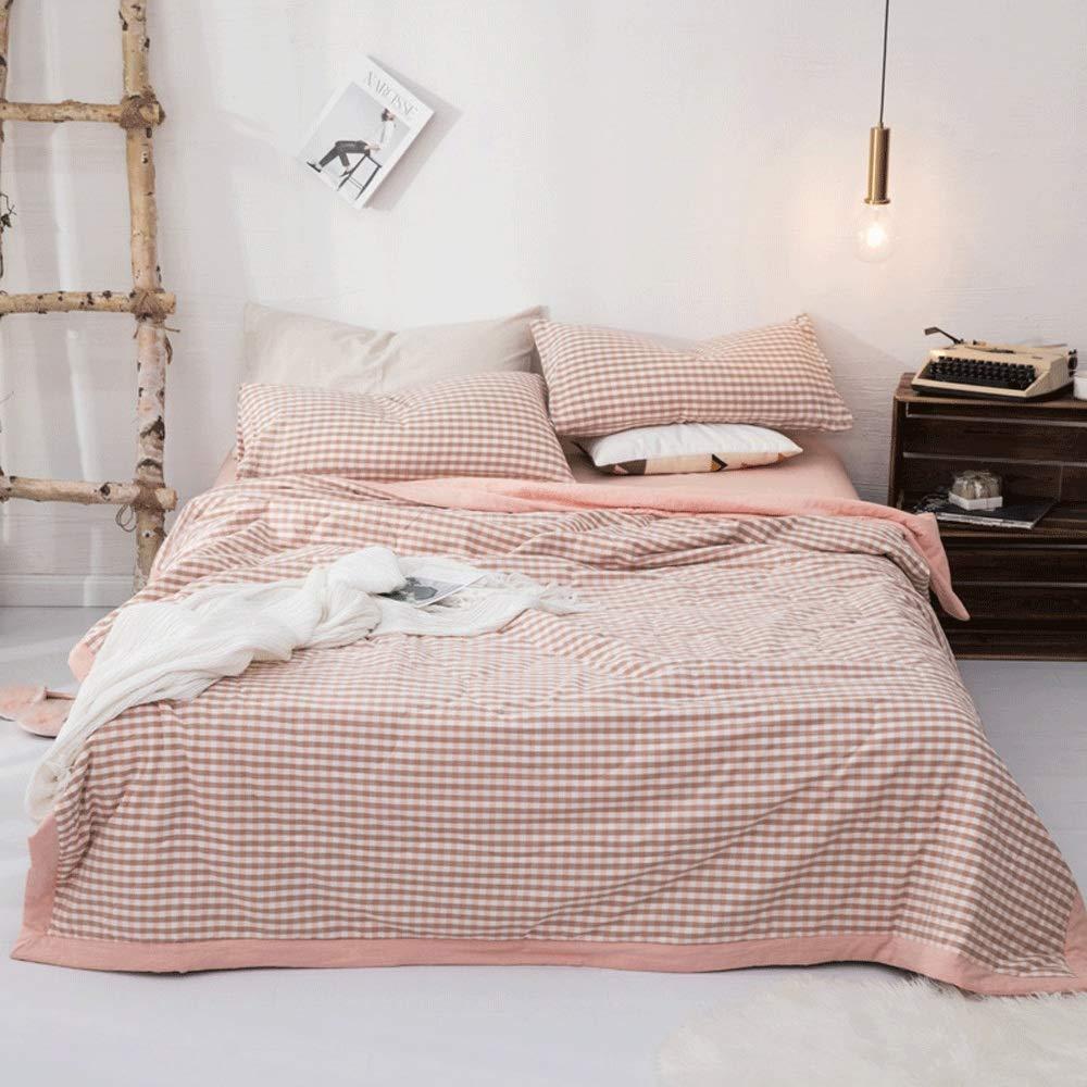 キルティングベッドカバー 3ピース洗える綿100%シン掛け布団セット(1キルト、2枕カバーを含む)春/夏/秋のための夏のキルトのエアコンのベッドのキルト (Color : Pink, Size : 200x230cm) B07T7MV3Q1 Pink 200x230cm