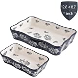KINGSBULL HOME Baking Dish Ceramic Baking Set 2-Piece Baking Pans Porcelain Bakeware Black Lasagna Pan Casserole Dish