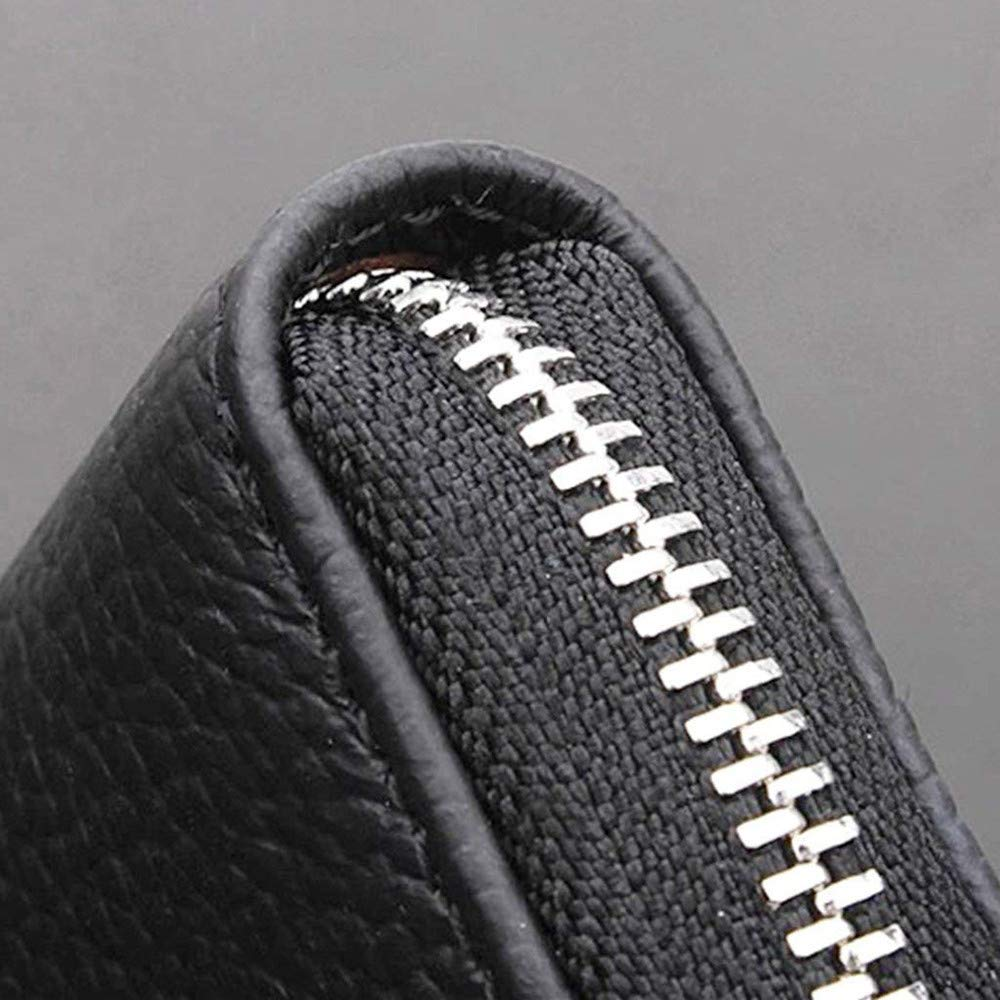 Black Cestval 1PCS Universal Leather Car Key Case with Keyring Durable Car Zipper Key Bag Wallet Pocket Holder for Men Women Use