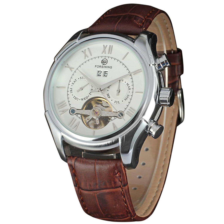 高級ブランドForsining新しいMechanical Watch自動Flywheelメンズ時計本革 B06ZZH7WT9