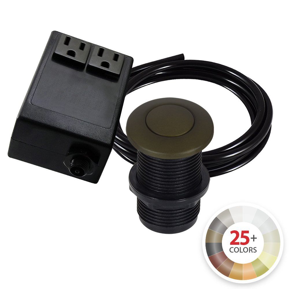 Dual Outlet Garbage Disposal Turn On/Off Sink Top Air Switch Kit in Compatible with any Garbage Disposal Unit and Available in 25+ Finishes by NORTHSTAR DÉCOR. (Standard 2-Inch, Tuscan Brass)
