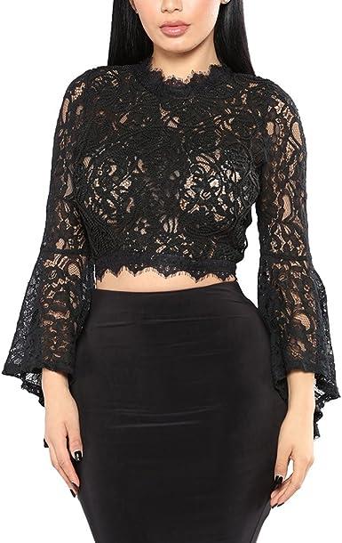 Saoye Fashion Crop Top Mujer Elegantes Vintage Encaje Camisetas ...