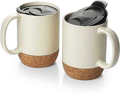 Dowan Coffee Mugs Set Of 2 15 Oz Ceramic Mug With Insulated Cork Bottom And Splash Proof Lid Large Coffee Mug With Handle For Men Women Beige Kitchen Dining
