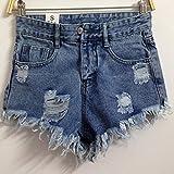 YFF High waist broken hole female denim shorts loose width leg pants tassle,S,Light blue