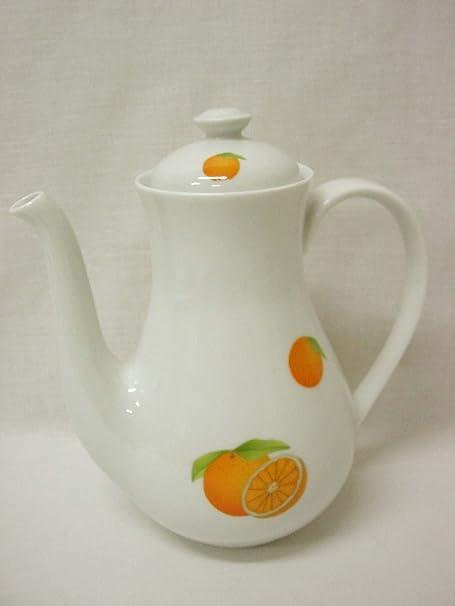 CAFETERA Tetera Redonda 1450ML Porcelana Naranjas: Amazon.es: Hogar