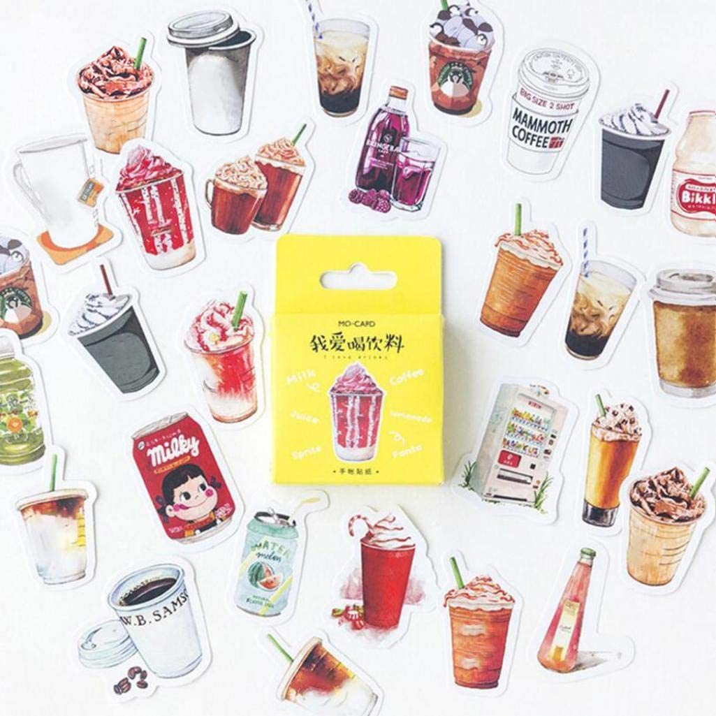 Kekailu Waterproof Stickers for Home, Car, Notebook, Luggage, 46Pcs Beverage Drink Ice Cream Scrapbook Stickers DIY Diary Album Decal Decor, 46pcs