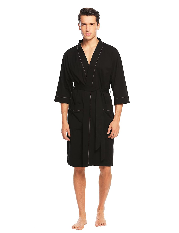 Adidome Mens Kimono Robe 3/4 Sleeve Sleepwear Knit Cotton Short Bathrobe