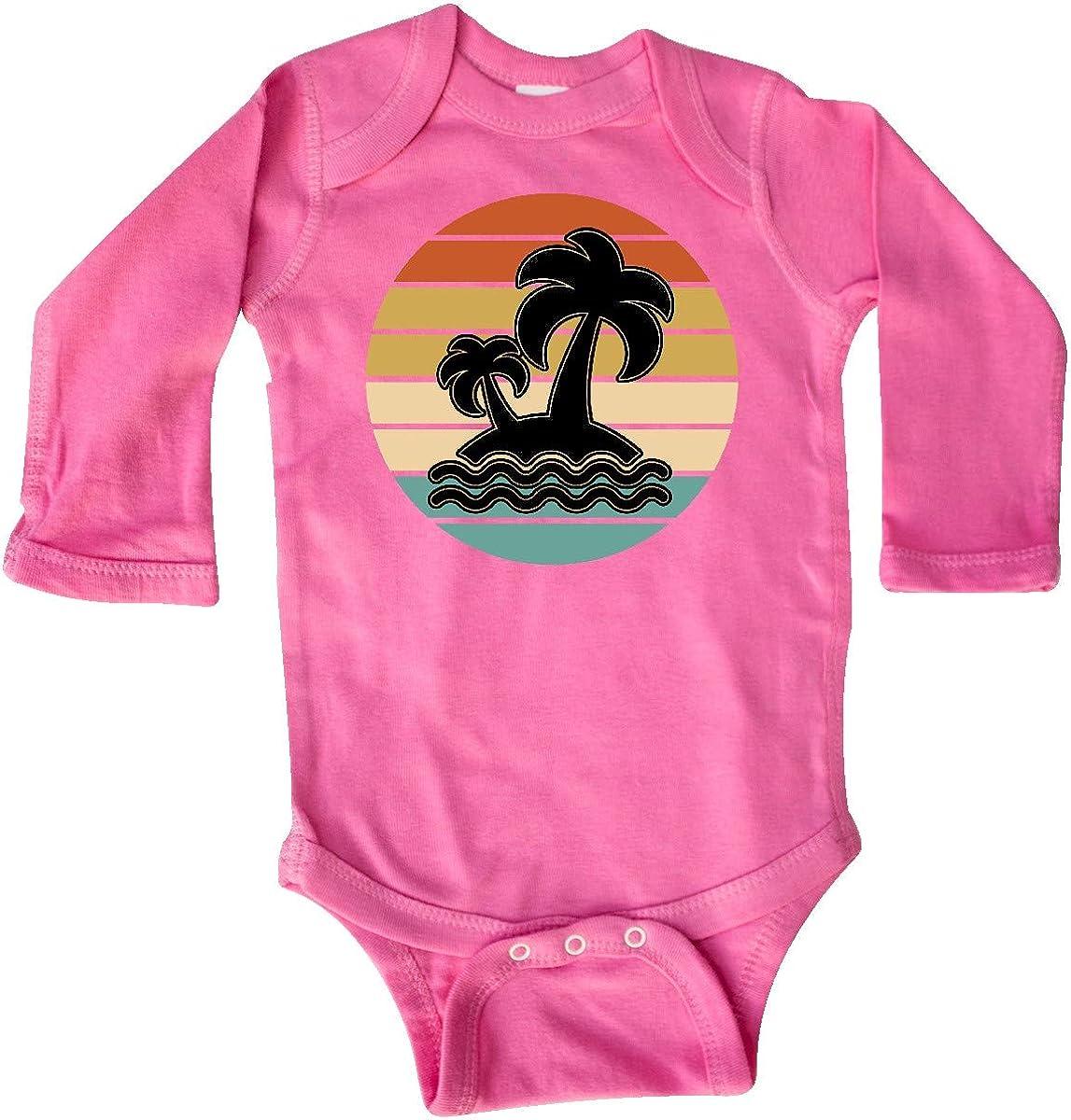 inktastic Retro Sunset Palm Trees Tropical Vacation Long Sleeve Creeper