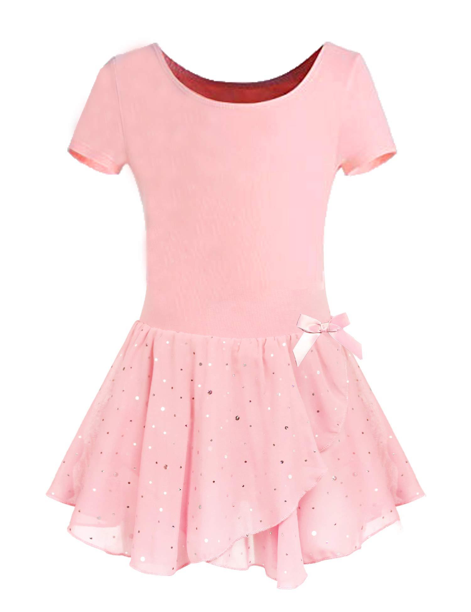 Arshiner Girls Ruffle Sleeve Ballet Dance Dress With Tutu Skirt Leotards Spark Ballet Pink 140 Age For 6 7y