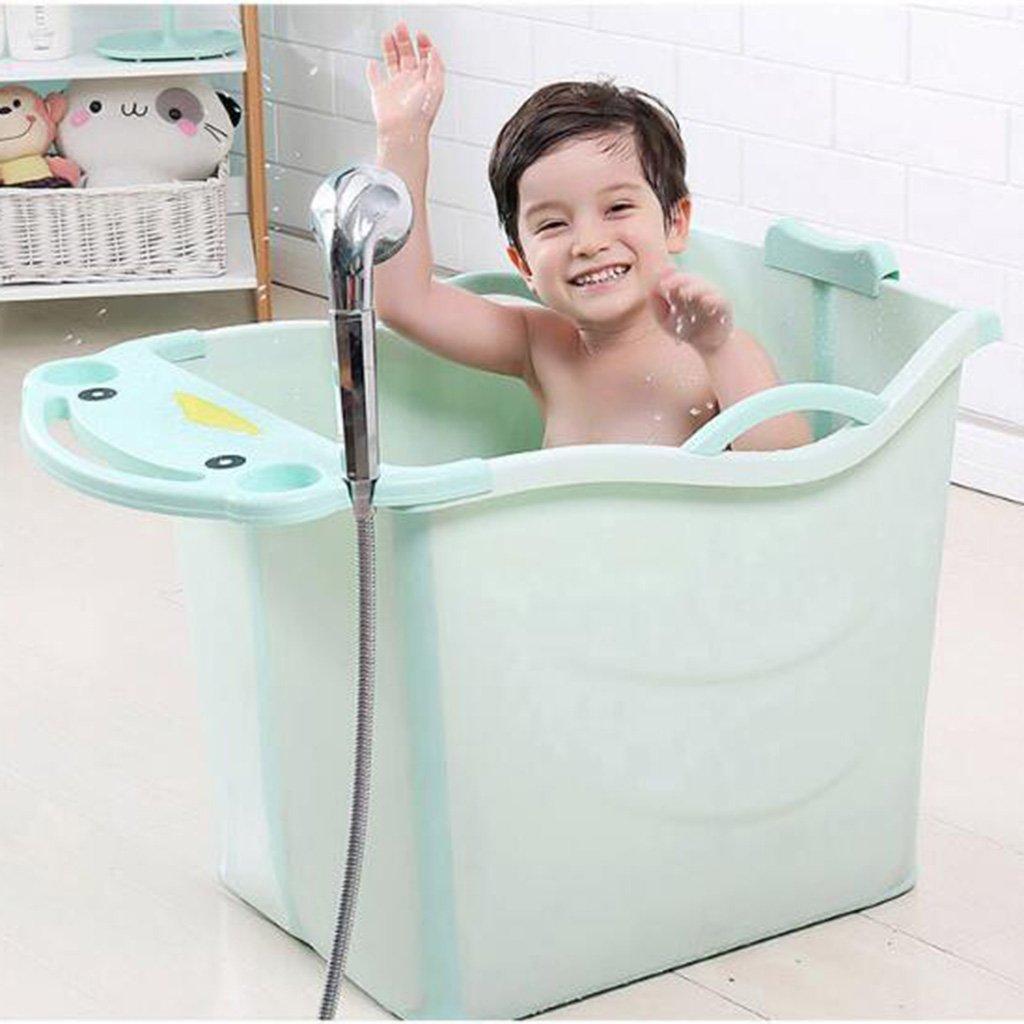 Vasca da bagno pieghevole isolamento portatile vasca da bagno per adulti vasca da bagno in plastica vasca idromassaggio jacuzzi bagno di famiglia vasca da bagno Color : Green , Size : 77*52*55cm