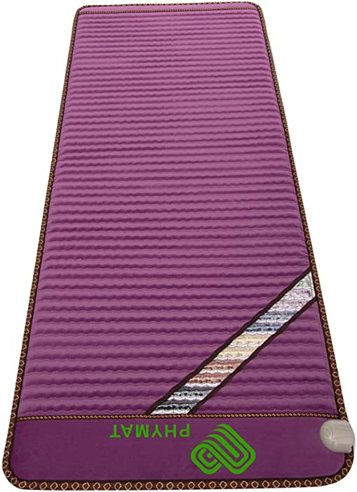 """PHYMAT Far Infrared Amethyst Heating Pad (67""""x27"""")- 5 Color Natural Crystal Heat Mat - Amethyst Infrared Heating Mat with Auto Shut Off - EMF Free,Overheat Protection,Smart Control"""