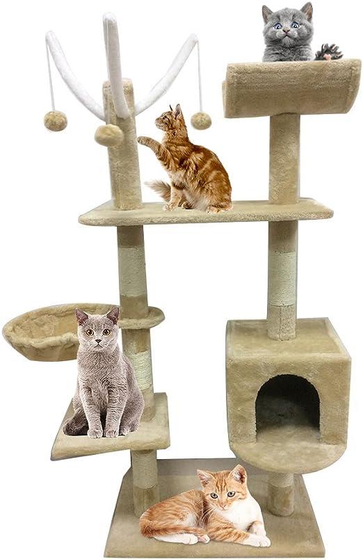 Homgrace Rascador para Gatos | Árbol para GatoJuguete Rascadores para Que los Gatos para Relajarse, Jugar y Descansar Color Beige: Amazon.es: Productos para mascotas