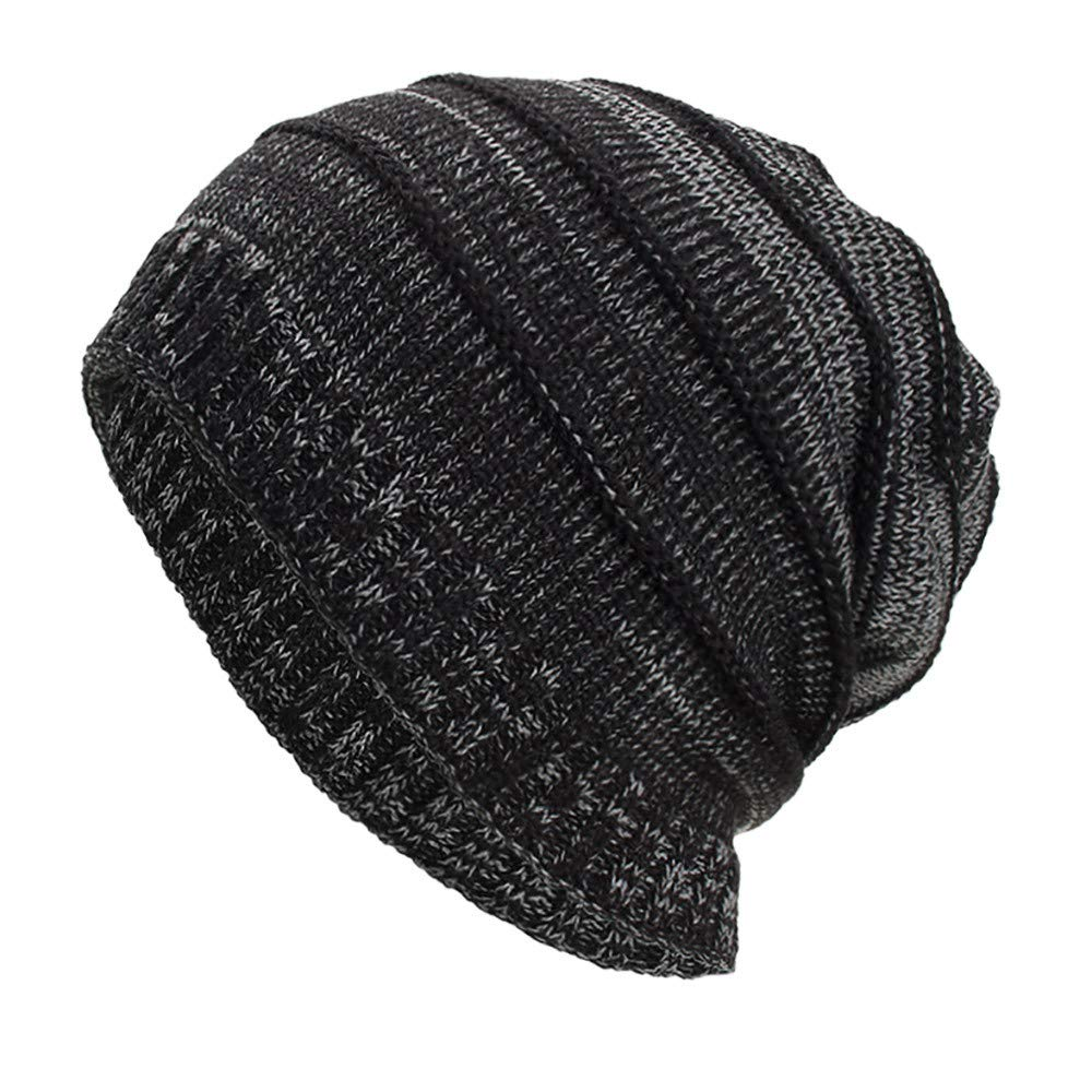 f34acff4d5d iYBUIA Women Men Warm Baggy Weave Crochet Winter Wool Solid Knit Ski Beanie  Skull Caps Hat(Black