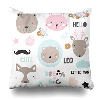 KJONG Cute Animals Floral Cute Animal Bear Girl Face Baby Character Square  DecorativePillow Case 18 x c452960fe0