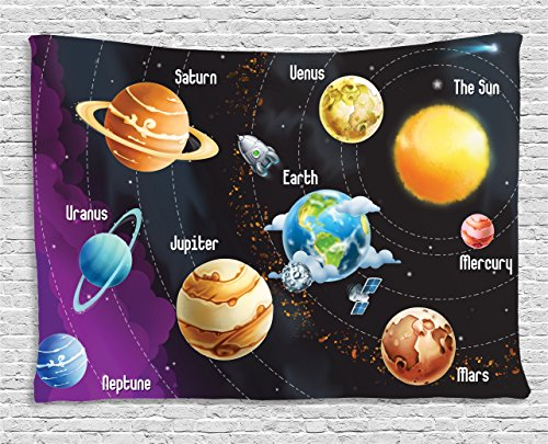 Ambesonne Planet Tapestry Universe Space Decor, Educational Solar System Planets Neptune Venus Mercury Kids Science Room Horizontal Art, Bedroom Living Room Dorm Wall Hanging, 60 W X 40 L, Multi Mercury Hand Woven Rug