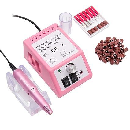 Pulidor de Uñas Aparatos eléctricos y accesorios para manicura y pedicura portátil torno para uñas con 100 bandas de lijado rosado
