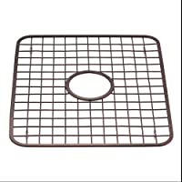 InterDesign 72101 Gia Kitchen Sink Protector Wire Grid Mat with Center Drain Hole, Bronze