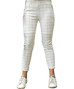 Shri Hub Women's Cotton Checkered Jeggings (White, Free Size)