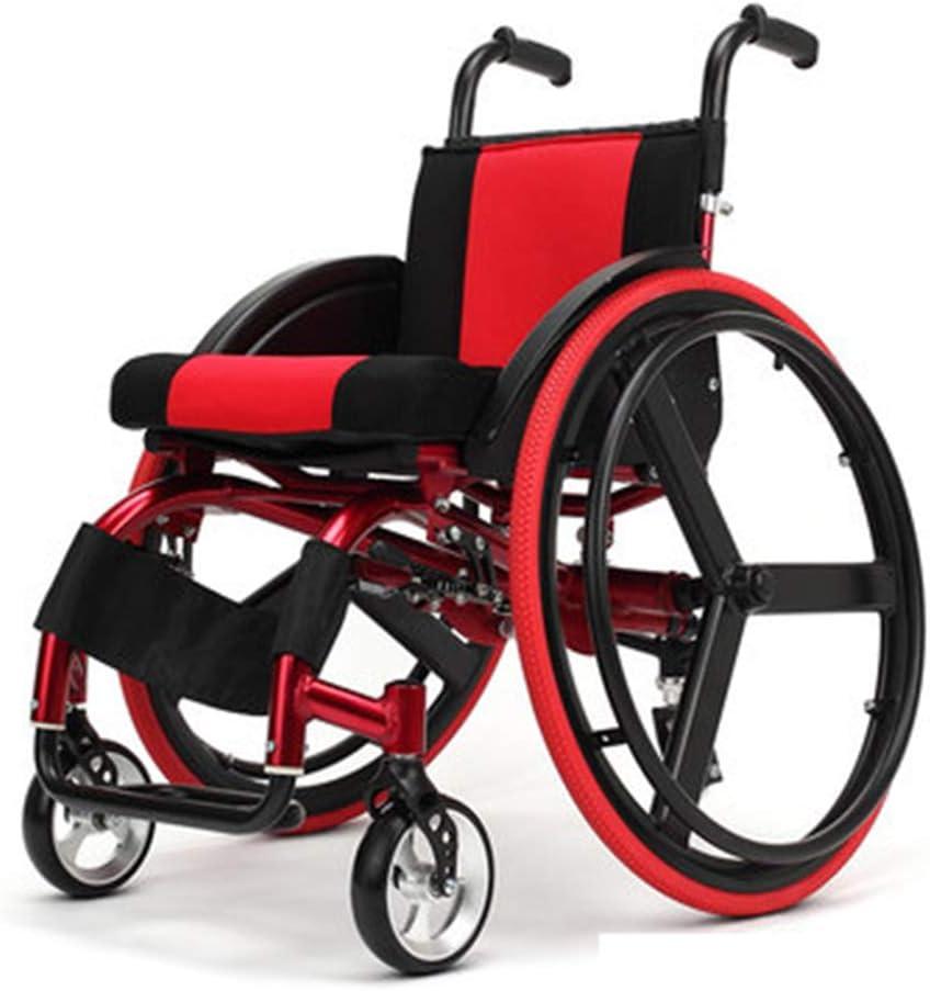 Lgotou Silla de Ruedas autopropulsada, Silla de Ruedas Deportiva y de Ocio con diseño antivuelco, Silla de Ruedas de Transporte Plegable de Color Rojo