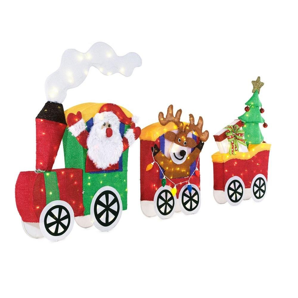 Tinsel Santa with Train Set 75.5 inch LED Lighted by Home Accents Holiday