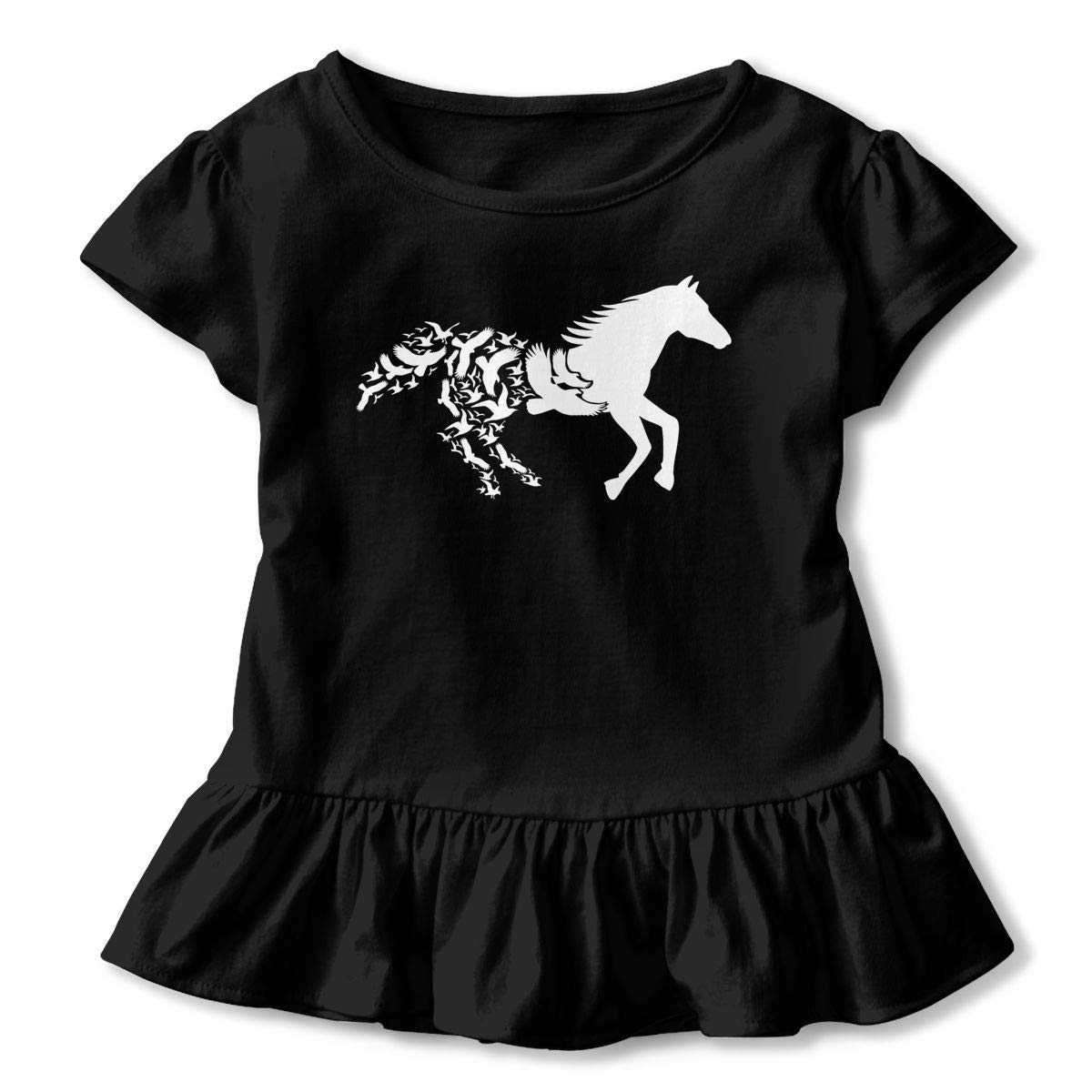 2-6T Girls Short Sleeve Black Horse Silhouette with Flying Birds T-Shirts Casual Tunic Shirt Dress with Flounces