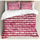 Coral Queen Size Duvet Cover Set by Ambesonne, Old Brick Wall Texture Image Rubble Rough Grunge Facade Construction Material Tile, Decorative 3 Piece Bedding Set with 2 Pillow Shams, Pink Magenta