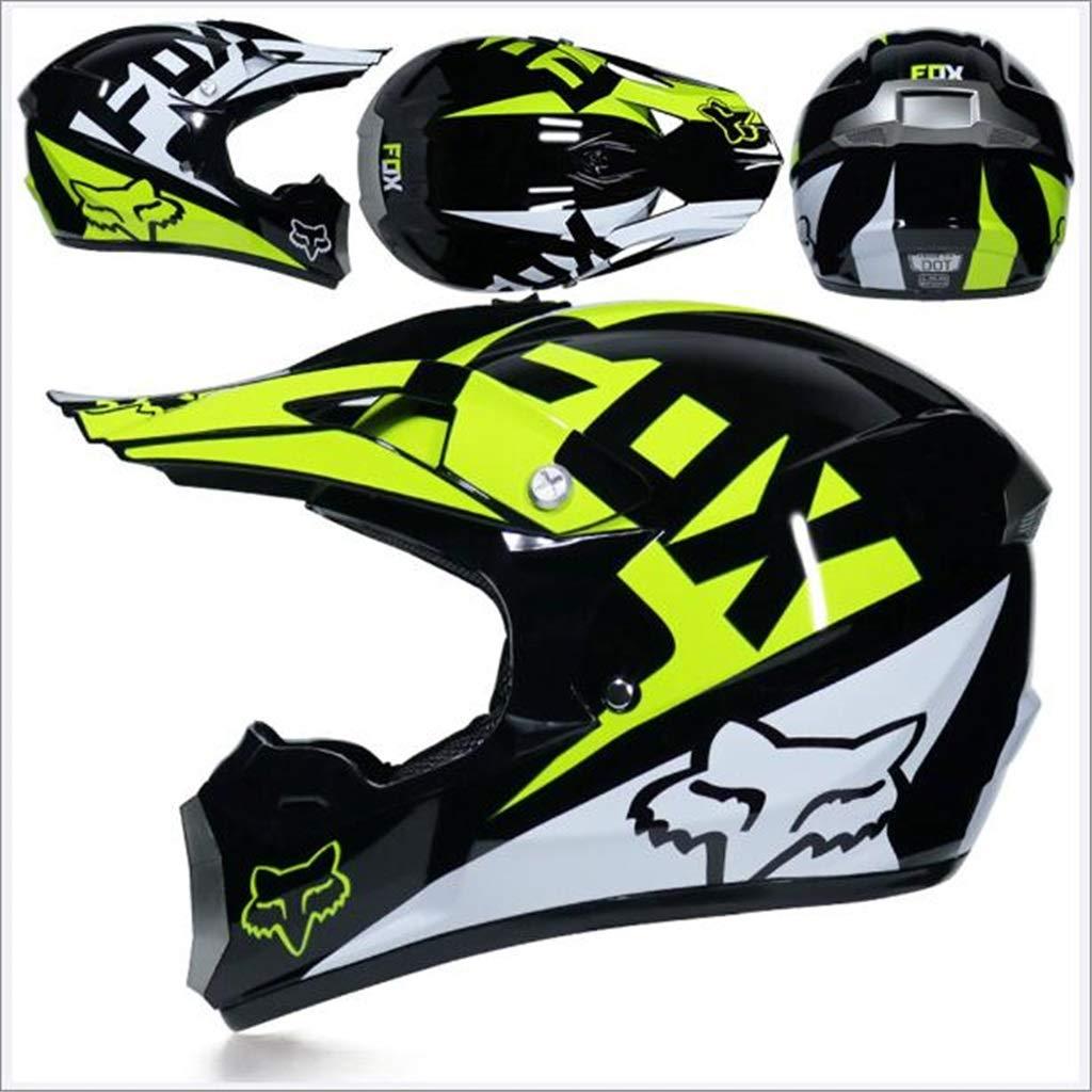 Motocross Off Road Casco Gafas de regalo M/áscaras Guantes FOX Motociclismo Racing Casco integral para hombre y mujer Color : C-M