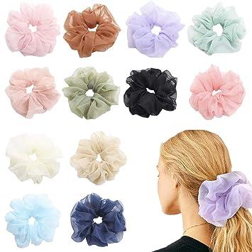 Oversized Organza Hair Ring Rope Chiffon Scrunchie Elastic Hair Band Hair Ties