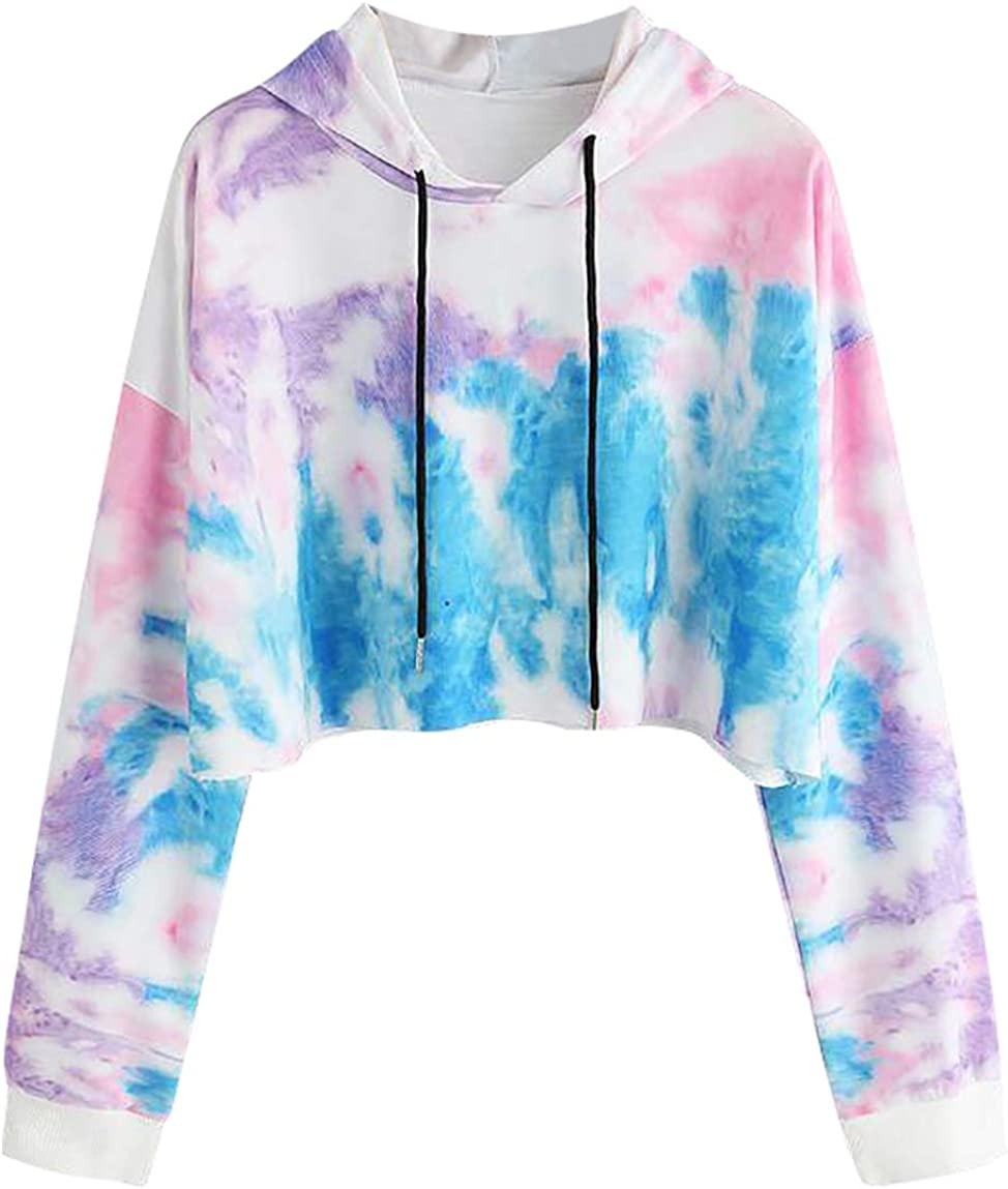 Women Casual Hooded Sweatshirt Long Sleeve Tie Dye Pullover Crop Tops