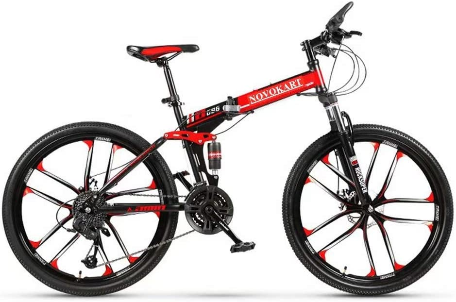 Novokart - Bicicleta Plegable Unisex para Adulto, Color Negro y Rojo, 21 Stage Shift