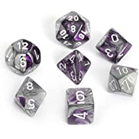 Chessex Dice Polyhedral 7-Die Gemini Set - Purple-Steel with White CHX-26432