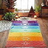 Clearance Sale!DEESEE(TM)39.4x17.7inch Hot Rainbow Beach Mat Mandala Blanket Wall Hanging Tapestry Stripe Towel Yoga