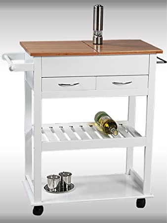 Kesper Küchenwagen, weiß lackiert, aufklappbare Abdeckplatte 2 ... | {Küchenwagen kesper 12}