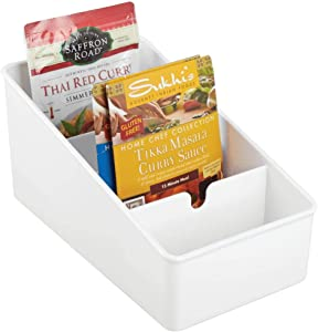 mDesign Plastic Food Packet Organizer Bin Caddy - Storage Station for Kitchen, Pantry, Cabinet, Countertop - Holds Spice Pouches, Dressing Mixes, Hot Chocolate, Tea, Sugar Packets - White