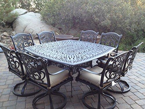 - Heritage Outdoor Living Santa Monica Cast Aluminum 9pc Outdoor Patio Set with 64