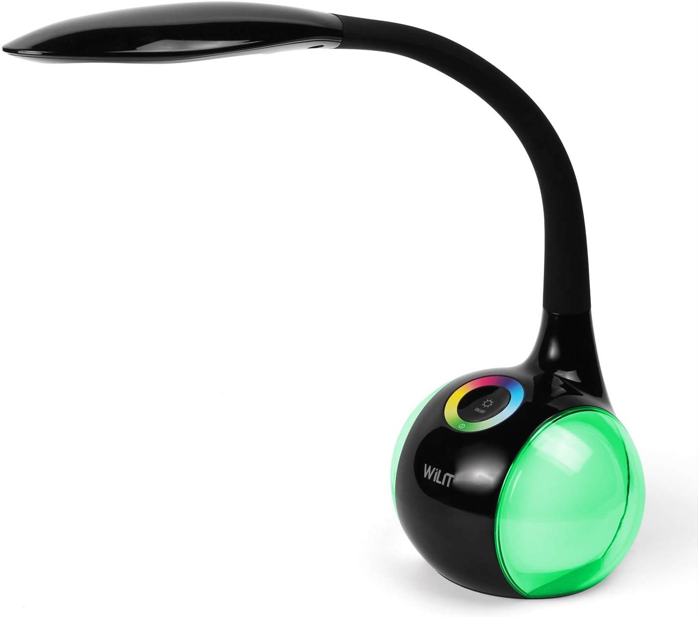 WILIT T3 5W LED Lámpara de Escritorio Regulable Luz de Color, 3 Niveles de Brillo, Placentera para los Ojos, Negro