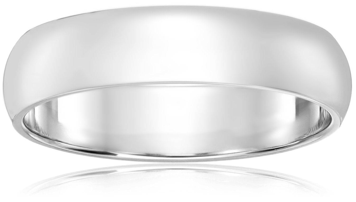 Classic Fit 10K White Gold Band, 5mm, Size 11 by Amazon Collection