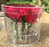 Wefond Clear Acrylic Flower Box Water Holder Vase Decorative Round Rose Pot Wedding Flower Gift Box Makeup Organizer (Rround-11 Holes)