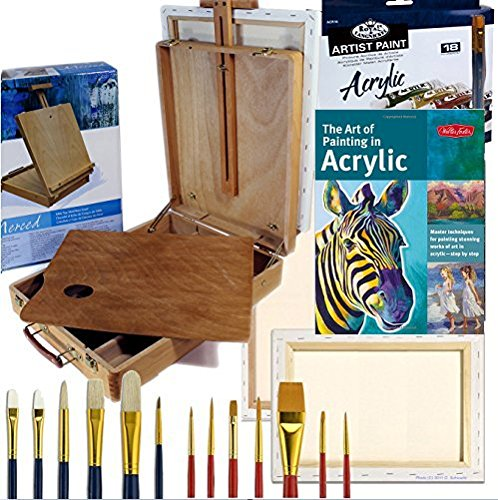 Artist Quality Table Easel with Acrylic Art Set Complete Painting Supplies & More by Online Art Supplies