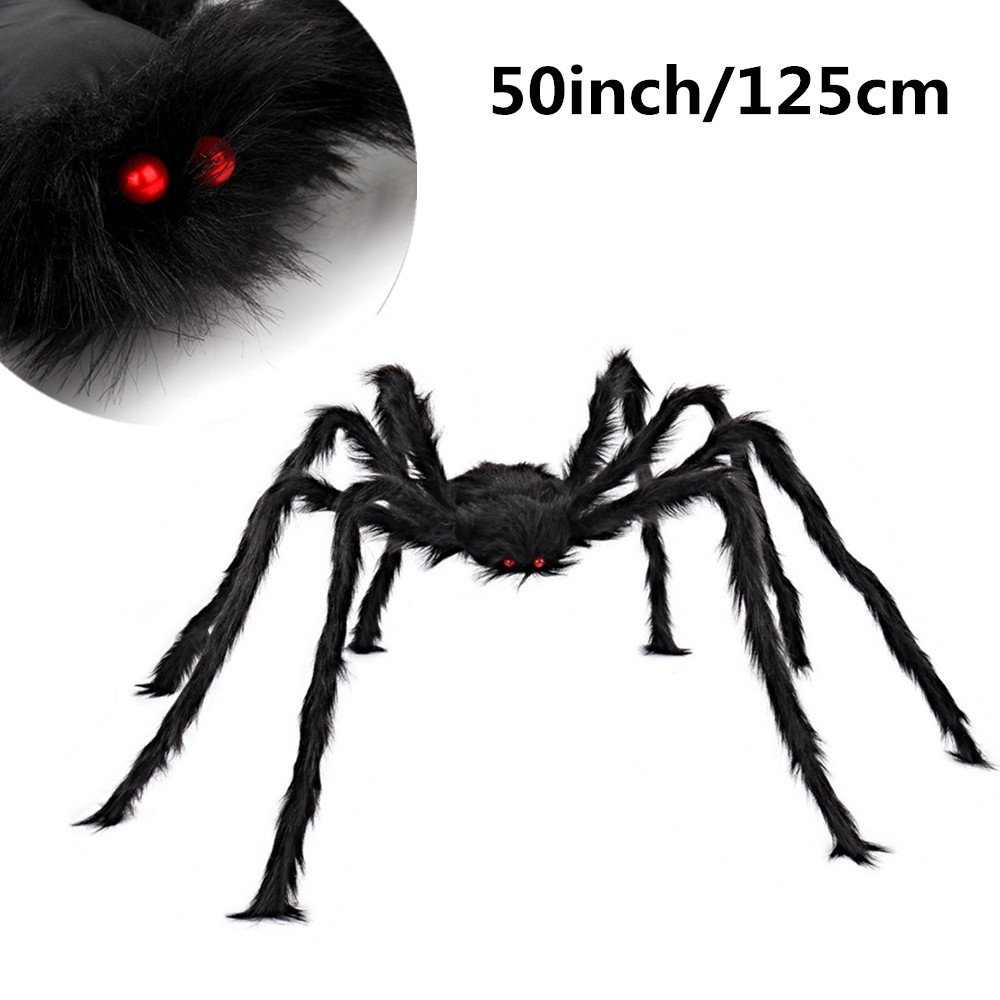 MerryMore Black Giant Spider 50 inch Large Plush Hairy Spider Halloween Props Indoor Outdoor Halloween Decorations
