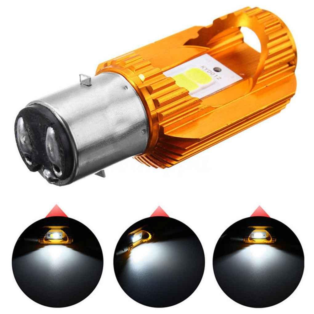 Mengonee Lampadina 7.28x3.48CM BA20D Moto luce della lampada del motociclo PANNOCCHIA LED a risparmio energetico Lampada frontale 6500K