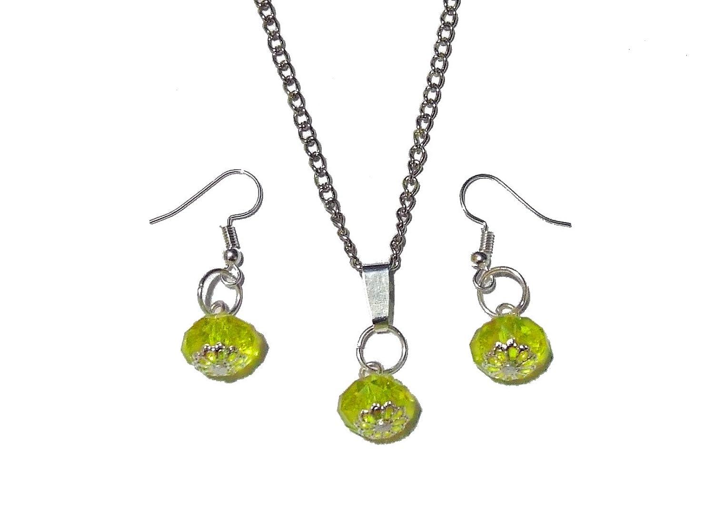 7c61e52e27df Juego de joyas collar – Pendientes – Correa amarillo Cristaline en metal  plateado Made