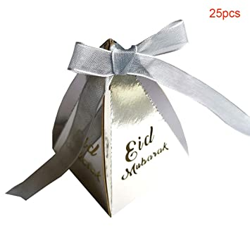 25pcs Muslim Eid Mubarak Ramadan Party Decoration Candy Box with Ribbon Wedding Party Favors Boxes