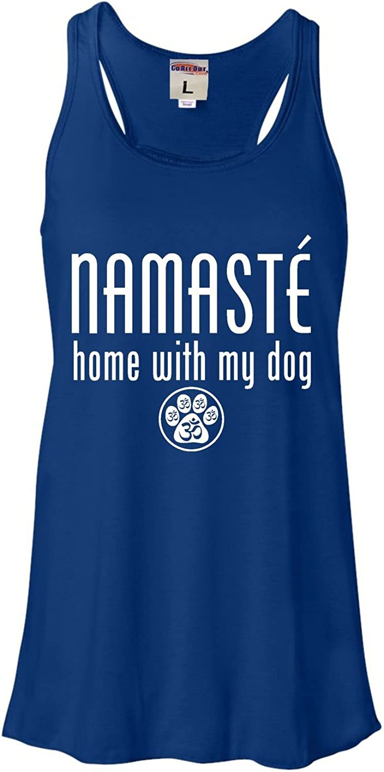 Go All Out Womens Namaste Home with My Dog Flowy Racerback Tank Top T-Shirt