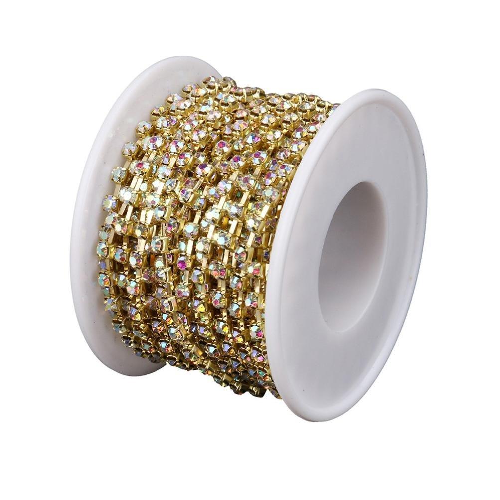 Hairpin 10 Yards Transer Diamond Sparkling Rhinestone Crystal Gold Plating Chain Headband Shoes C - Dia. 3mm Cellphone Case Cake Decoration Photo Frame Wedding Ribbon