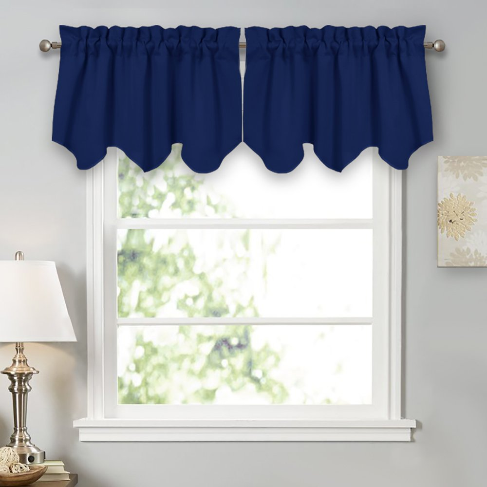 PONY DANCE Window Treatments Valances - Light Block Curtain Tiers Rod Pocket Top Scalloped Valance Soft Textured Woven Tier Kitchen, 42'' W x 18'' L, Navy Blue, Set of 2