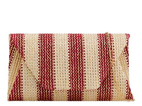 Evening Ladies Clutch KK2266 Handbag Bag Designer Women's Red Party Envelope Striped AwqaAtrY