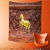 Analisa A. Houk Wall Tapestries horse wood carvings in thai land Tapestry Table Cover Bedspread Beach Towel Lattern 51.1L x 59W Inches