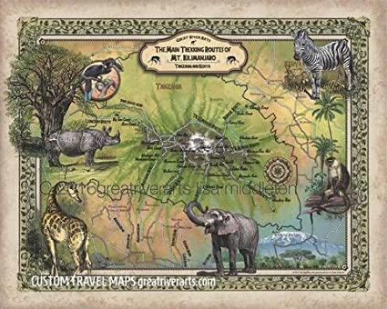 Mt Kilimanjaro On World Map.Amazon Com Great River Arts Hiking Trails Of Mt Kilimanjaro Mt