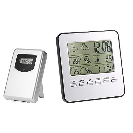 Anself - Estación meteorológica inalámbrica multifunción digital, termómetro higrómetro calendario meses alarma reloj, Lcd pantalla